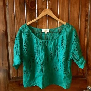 Anthropologie Tracy Reese Teal Eylet Summer Top